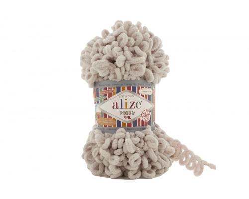 Пряжа/нитки Alize Puffy Fine – цвет 599 слоновая кость
