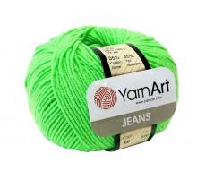 YarnArt Jeans 60 зеленый неон
