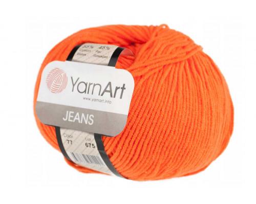 Пряжа/нитки YarnArt Jeans – цвет 77 апельсин