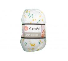 YarnArt Baby Color 5133 белый-желтый-зеленый