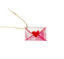 Картонная бирка конверт с сердечком