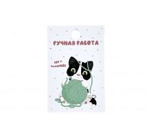 Картонная бирка «Ручная работа» черный котенок с клубком