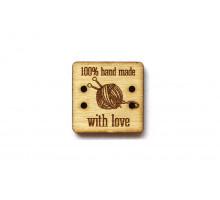 Деревянная бирка «Hand Made» квадрат 30x30 мм