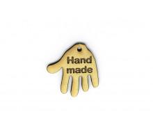 Деревянная бирка «Hand Made» ладошка 30 мм
