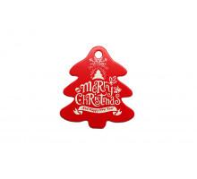 Картонная бирка «Merry Christmas» ёлочка красная