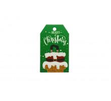 Картонная бирка «Merry Christmas» зеленая