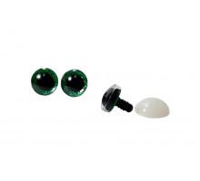 Глаза винтовые 12 мм зеленые с искоркой