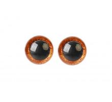Глаза винтовые 14 мм коричневые Блестки