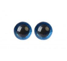 Глаза винтовые 14 мм синие Блестки