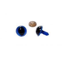 Глаза винтовые 14 мм синие кошачьи