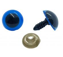 Глаза винтовые 14 мм синие полупрозрачные