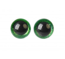 Глаза винтовые 14 мм зеленые Блестки