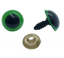 Глаза винтовые 14 мм зеленые полупрозрачные