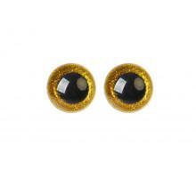 Глаза винтовые 14 мм желтые Блестки