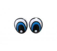 Глаза винтовые 15x18 мм голубые овал