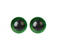 Глаза винтовые 16 мм зеленые Блестки
