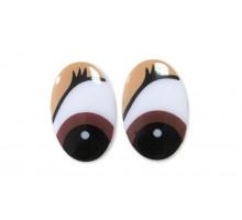 Глаза винтовые 17x26 мм бежевые овал с ресницами