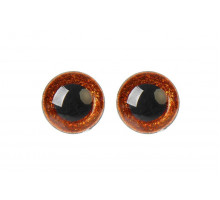 Глаза винтовые 18 мм коричневые Блестки