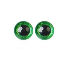 Глаза винтовые 18 мм зеленые Блестки