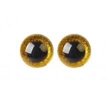 Глаза винтовые 18 мм желтые Блестки