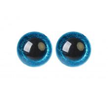 Глаза винтовые 20 мм голубые Блестки