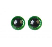 Глаза винтовые 20 мм зеленые Блестки