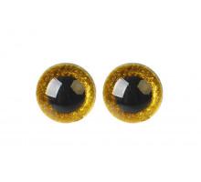 Глаза винтовые 20 мм желтые Блестки