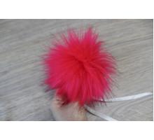 Помпон из экомеха 12-13 см розовый неон