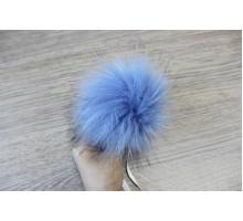 Помпон из экомеха 12-13 см морозный-голубой