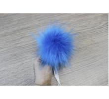 Помпон из экомеха 12-13 см ярко-голубой