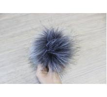 Помпон из экомеха 12-13 см темно-серый