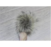 Помпон из натурального меха енота 10-12 см