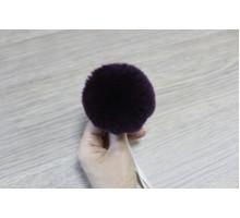 Помпон из натурального меха кролик рекс 8-9 см 15 темно-фиолетовый