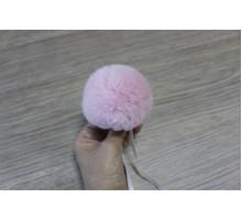 Помпон из натурального меха кролик рекс 8-9 см 19 розовый