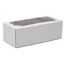Коробка самосборная с окном белая 35x16x12 см