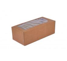 Коробка самосборная с окном крафт бурая 35x16x12 см