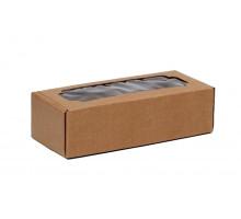 Коробка самосборная с окном крафт бурая 32x13x9 см