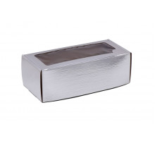 Коробка самосборная с окном серебрянная 35x16x12 см