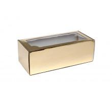 Коробка самосборная с окном золотая 35x16x12 см